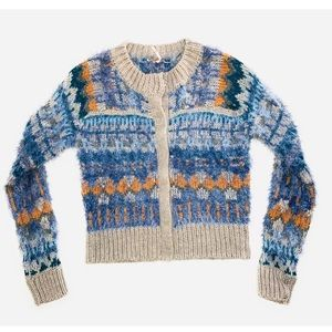 Free People Nordic party cardi fuzzy Sweater M